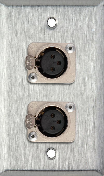 1G Stainless Wall Plate w/2 Neutrik 3-Pin Female XLR to Terminal Block