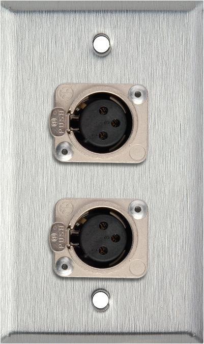 1-Gang Stainless Steel Wall Plate w/2 Neutrik Latching 3-Pin XLR Femal