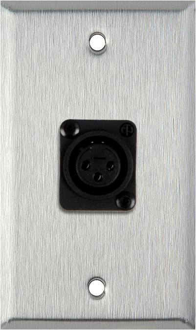 1-Gang Stainless Steel Wall Plate w/Plastic Latchless 3-Pin Female XLR
