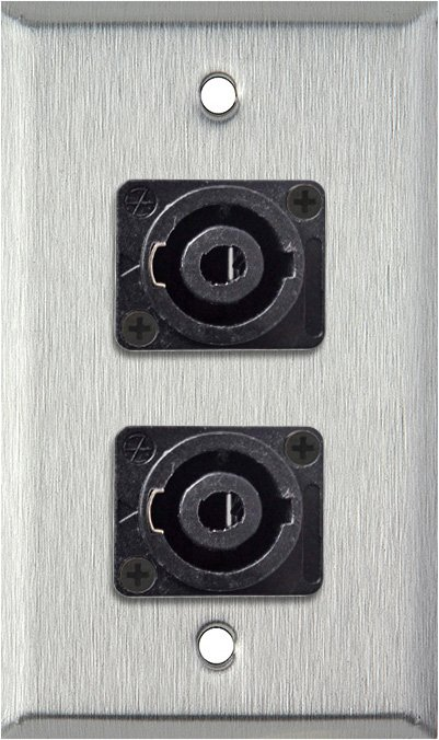 1-Gang Stainless Steel Wall Plate w/Two 4-Pole Speakon Male Connectors