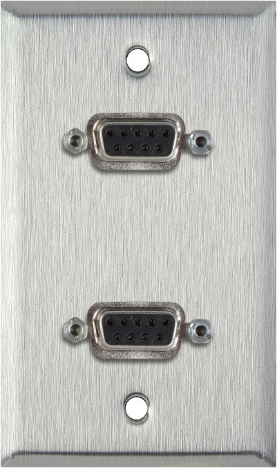 1G Stainless Steel Wall Plate w/Two 9-Pin D-Sub Rear Solder Connectors