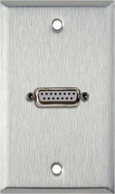 1G Stainless Wall Plate w/One 15-Pin Female Rear Solder Connector
