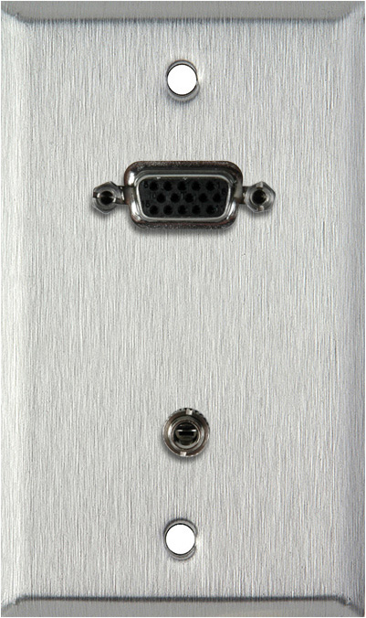 1G Stainless Wall Plate w/15-Pin HD Female Barrel & Stereo Mini Jack