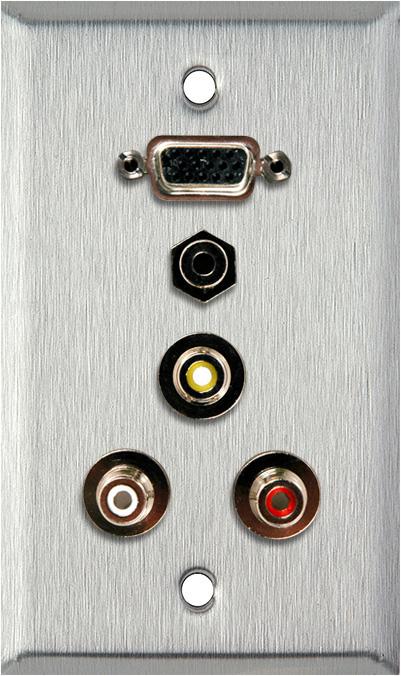 1G Plate w/HD 15-Pin F-Barrel/3 RCA Barrels/1 Mini Jack 3.5mm feedthru