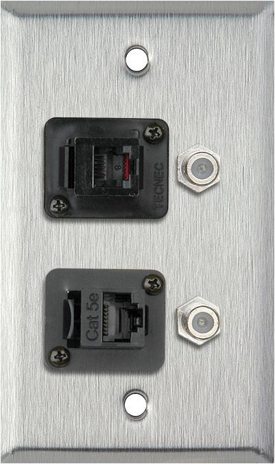 1G Stainless Wall Plate w/1-RJ45/1-RJ11 & 2- FJ-FJCM Barrel Connectors