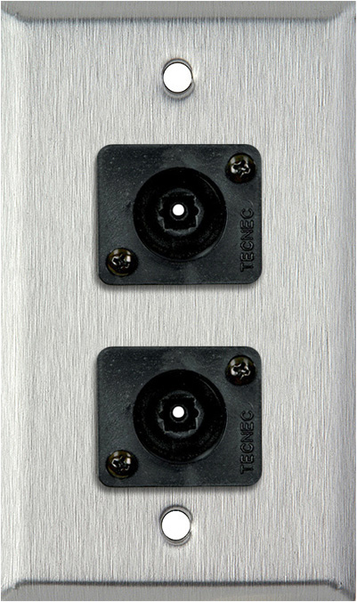 1 Gang Stainless Steel Wall PLate w/ 2 Toslink connectors WPL-1210