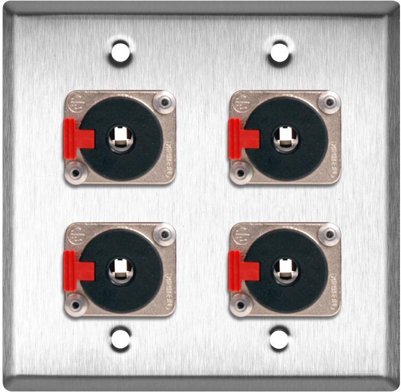 2G Stainless Steel Wall Plate w/4 Neutrik Stereo 1/4 Latching Jacks