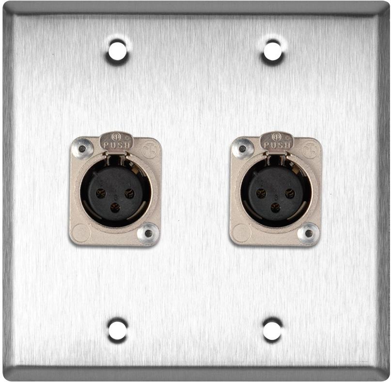 2-Gang Stainless Steel Wall Plate w/2 Neutrik Latching 3-Pin XLR-Fs