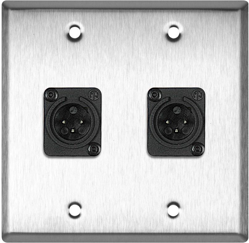 2-Gang Stainless Steel Wall Plate w/2 Neutrik Plastic 3-Pin XLR Males