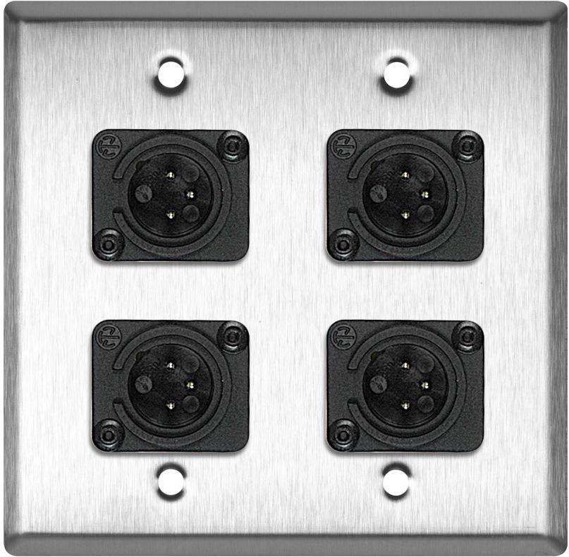 2-Gang Stainless Steel Wall Plate w/4 Neutrik Plastic 3-Pin XLR Males