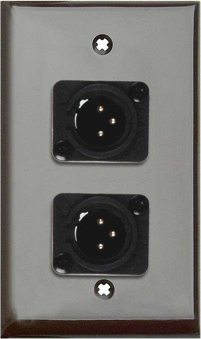 1G Brown Lexan Wall Plate w/2 Neutrik 3-Pin XLR Male-Terminal Blocks
