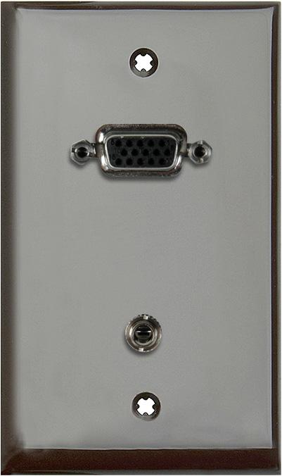 1G Brown Lexan Wall Plate w/15-Pin HD Female Barrel & Stereo Mini Jack