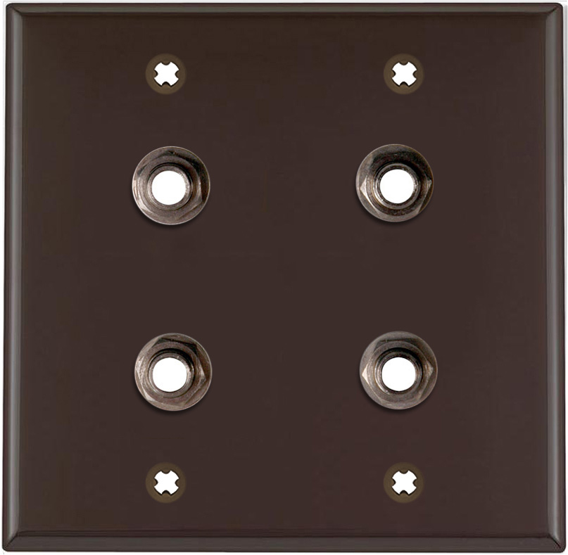 2-Gang Brown Lexan Wall Plate w/4 Switchcraft SW12B Stereo 1/4 Jacks
