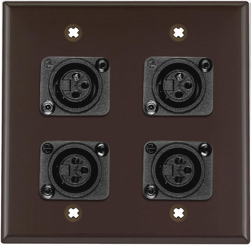 2-Gang Brown Lexan Wall Plate w/4 Plastic Latchless 3-Pin XLR Females