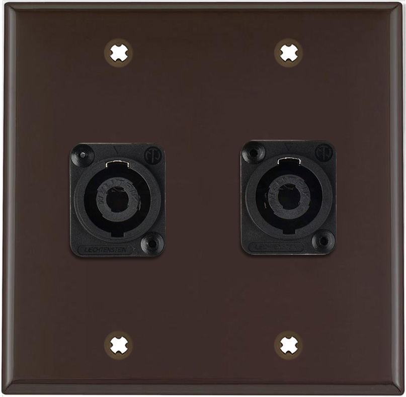 2G Brown Lexan Wall Plate w/2 Neutrik NL4MP -D-Series 4 Pole Speakon