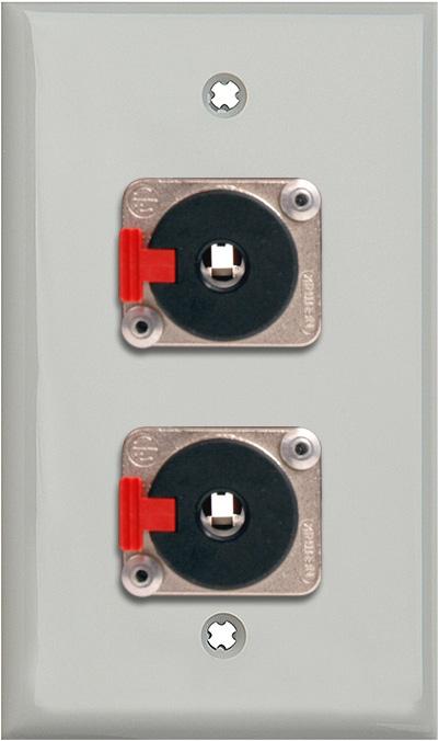 1G Gray Lexan Wallplate w/2 Neutrik NJ3FP6C 1/4-In. TRS Latching Jacks
