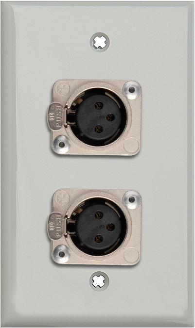 1G Gray Lexan Wall Plate w/2 Neutrik 3-Pin Female XLRs Terminal Block