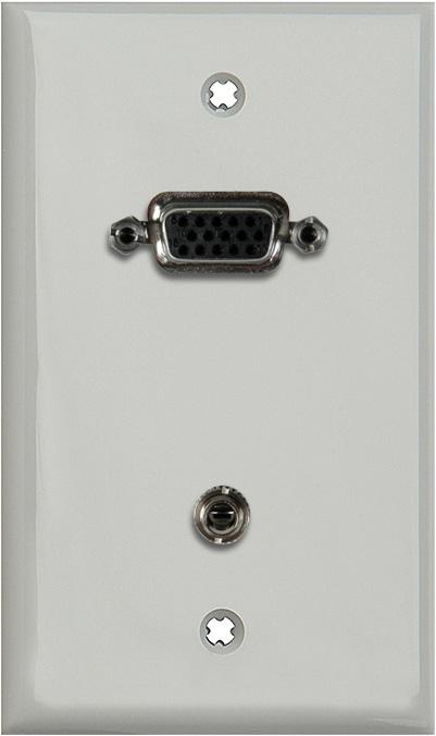 1G Gray Lexan Plate w/15-Pin HD Female & 3.5mm Stereo Barrels