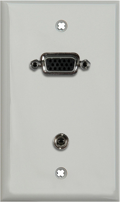 1G Gray Lexan Wall Plate w/15-Pin HD Female Barrel & Stereo Mini Jack