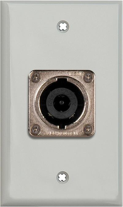 1G Gray Lexan Wall Plate w/1 Neutrik NL8MPR 8 Pole Speakon Connector