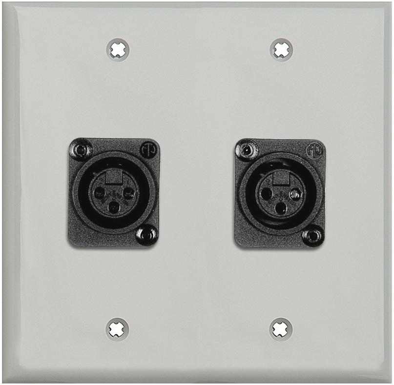 2-Gang Gray Lexan Wall Plate w/2 Plastic Latchless 3-Pin XLR Females