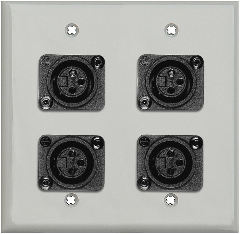 2-Gang Gray Lexan Wall Plate w/4 Plastic Latchless 3-Pin XLR Females