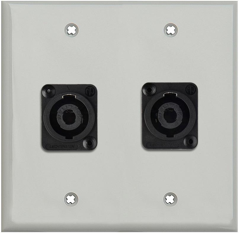 2G Gray Lexan Wall Plate w/2 Neutrik NL4MP -D-Series 4 Pole Speakon