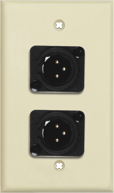 1G Ivory Lexan Wall Plate w/2 Neutrik 3-Pin XLR Male-Terminal Blocks