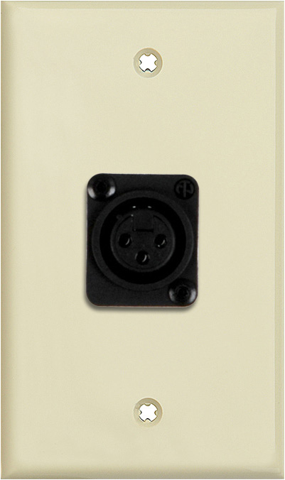 1G Ivory Lexan Wall Plate with 1 NC3FD-L-1-B Connector WPLI-1115-BG