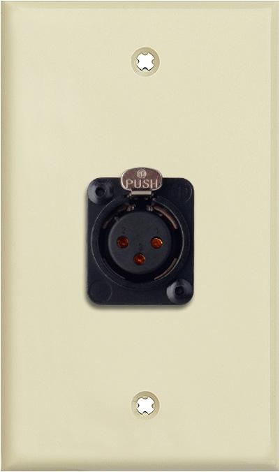 1-Gang Ivory Lexan Wall Plate w/Neutrik 3-Pin XLR-F-Terminal Block