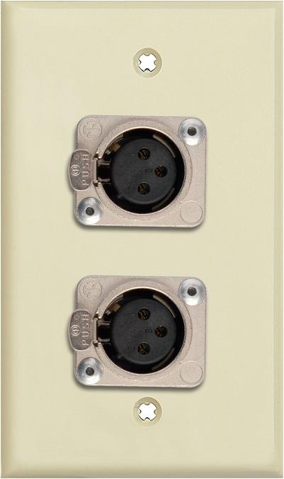 1G Ivory Lexan Wall Plate w/2 Neutrik 3-Pin Female XLRs Terminal Block