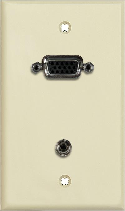 1G Ivory Lexan Wall Plate w/15-Pin HD Female Barrel & Stereo Mini Jack
