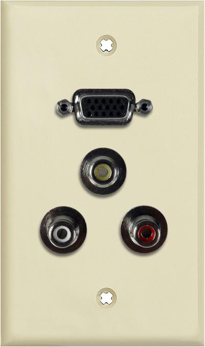 1G Ivory Lexan Plate w/One 15-Pin HD Female Barrel & 3 RCA Barrels RWY