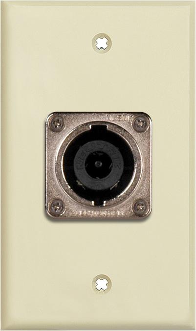 1G Ivory Lexan Wall Plate w/1 Neutrik NL8MPR 8 Pole Speakon Connector