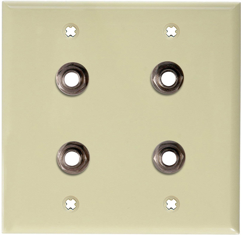 2-Gang Ivory Lexan Wall Plate w/4 Switchcraft SW12B Stereo 1/4 Jacks