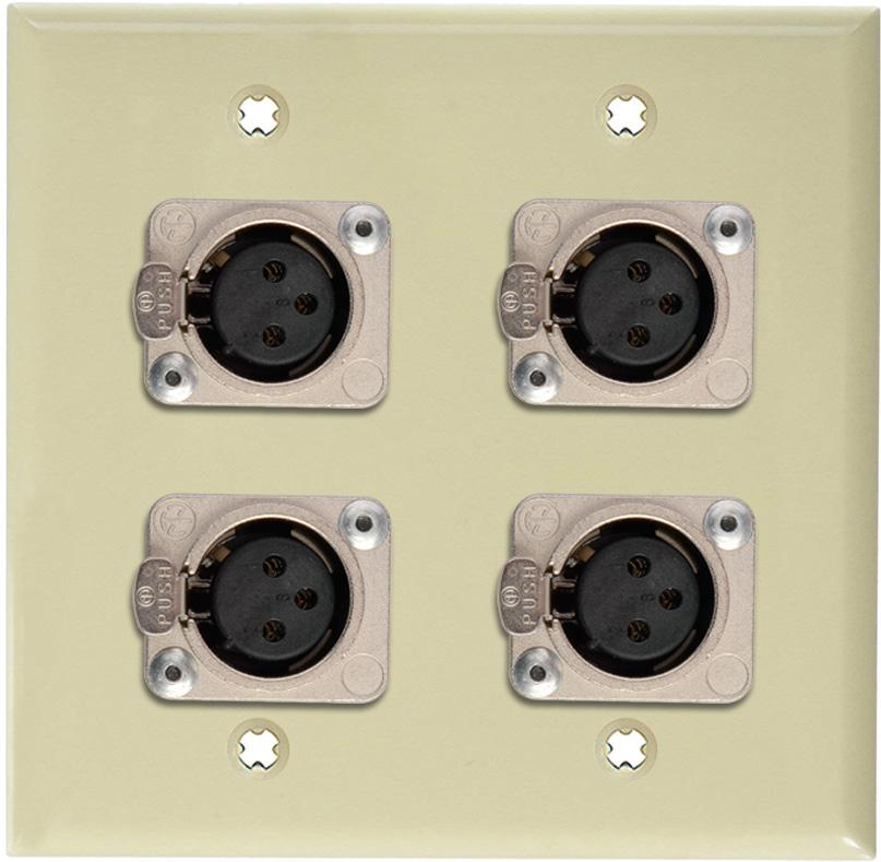 2-Gang Ivory Lexan Wall Plate w/4 Neutrik Latching 3-Pin XLR Females