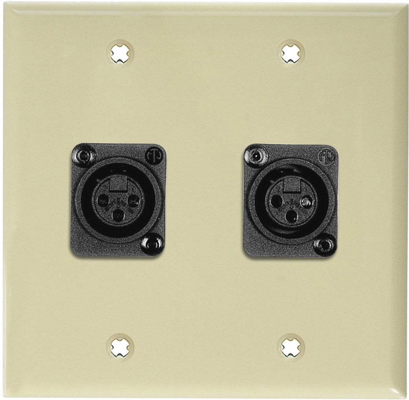 2-Gang Ivory Lexan Wall Plate w/2 Plastic Latchless 3-Pin XLR Females