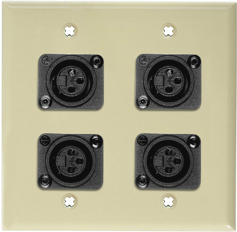 2-Gang Ivory Lexan Wall Plate w/4 Plastic Latchless 3-Pin XLR Females