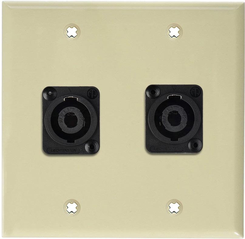 2G Ivory Lexan Wall Plate w/2 Neutrik NL4MP -D-Series 4 Pole Speakon