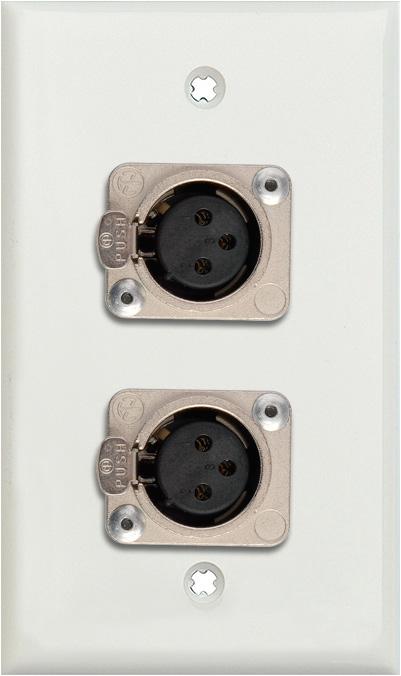 1G White Lexan Wall Plate w/2 Neutrik 3-Pin Female XLRs Terminal Block