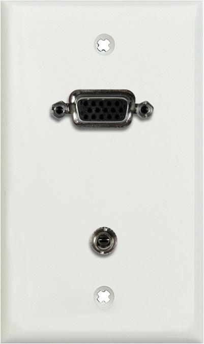 1G White Lexan Wall Plate w/15-Pin HD Female Barrel & Stereo Mini Jack