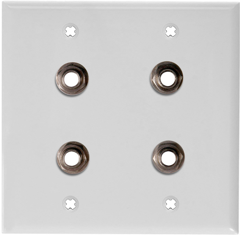 2-Gang White Lexan Wall Plate w/4 Switchcraft SW12B Stereo 1/4 Jacks