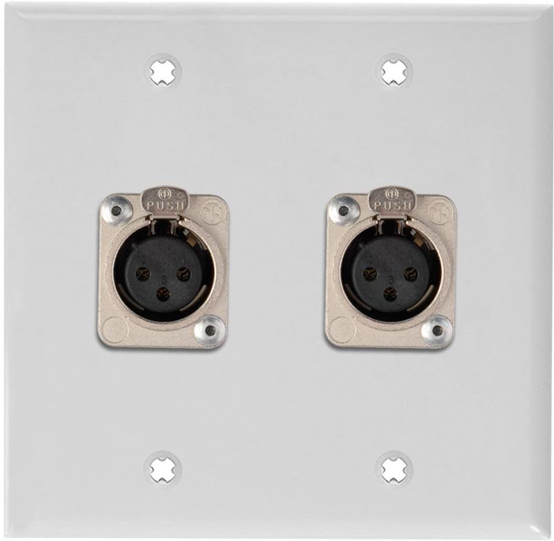 2-Gang White Lexan Wall Plate w/2 Neutrik Latching 3-Pin XLR Females