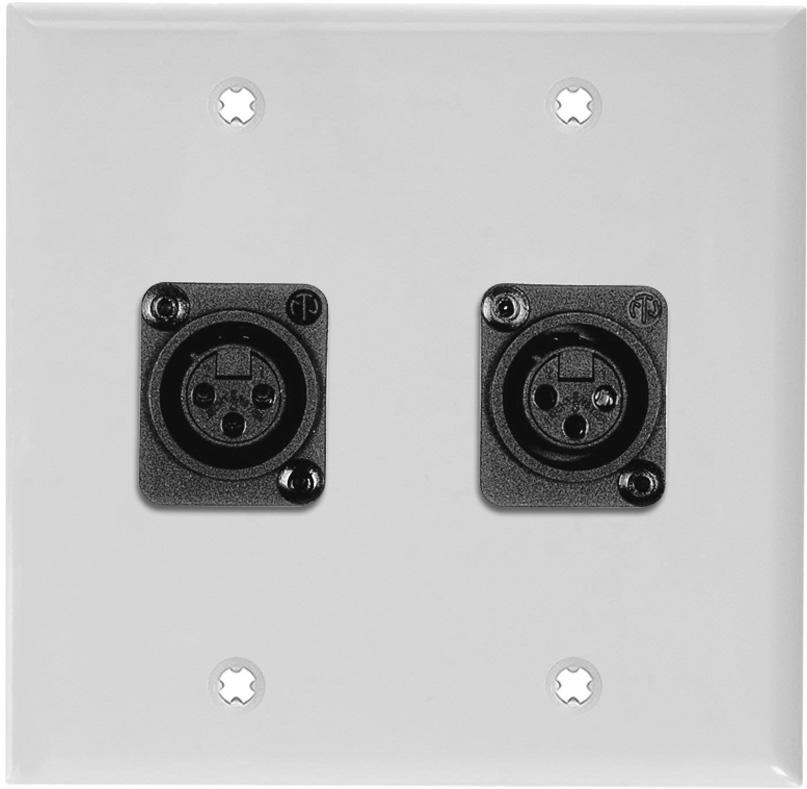 2-Gang White Lexan Wall Plate w/2 Plastic Latchless 3-Pin XLR Females