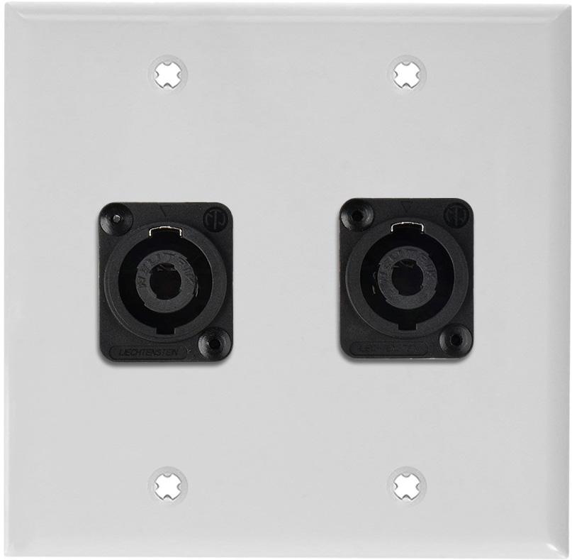 2G White Lexan Wall Plate w/2 Neutrik NL4MP -D-Series 4 Pole Speakon