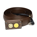 Lay-Flat AC Power Extension 12 Foot Brown - Bstock (Cosmetic Scratches and Scuffs)