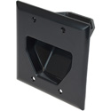 Datacomm 2 Gang Recessed Low Voltage Cable Plate- Black