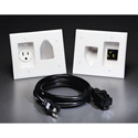 Datacomm Recessed Pro Power Kit with Straight Blade Inlet White