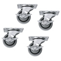 Mid-Atlantic 5WLR SLIM 5 Rack Casters Set of 4 (2-locking)