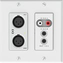Attero Tech UNA6IO 4x2 Ch 2 Gang US Wall Plate 2 Mic/Line In (XLR) - 3.5mm I/O - PoE - AES67 - White & Black Inserts